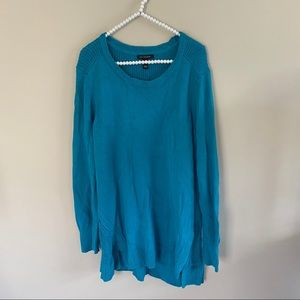 H By Halston Teal Blue Chunky Knit Sweater